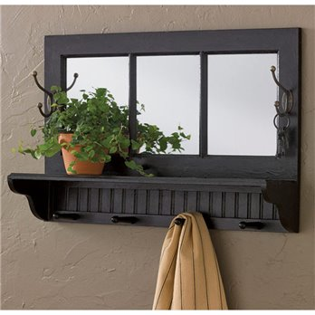 Southport Shelf with Hooks Black