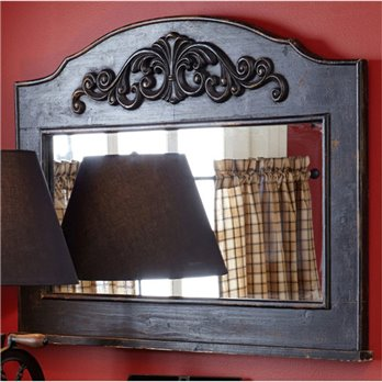 Mantle Top Mirror Aged Black