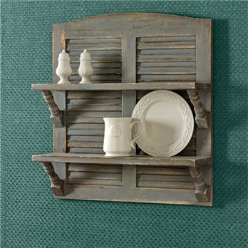 Double Shutter Shelf Aged Gray