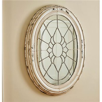 Window Frame Mirror Aged Cream