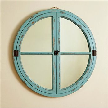 Round Window Wood Mirror Sea