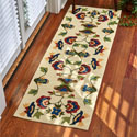 Vine and Blossom Hooked Rug Runner 24x72