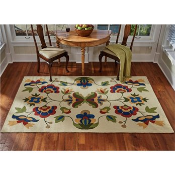 Vine and Blossom Hooked Rug 5x8