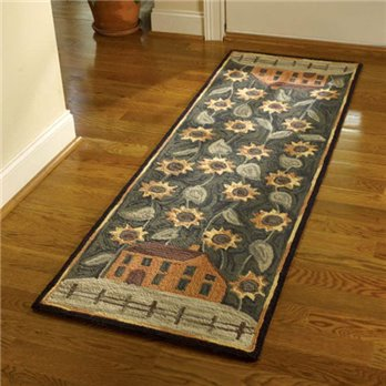 House and Sunflower Hooked Rug Runner