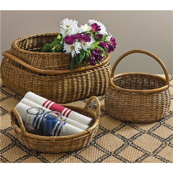 Artisan Baskets With Rattan Handles Set Of 3