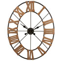 Oval Metal And Wood Clock 38 inch