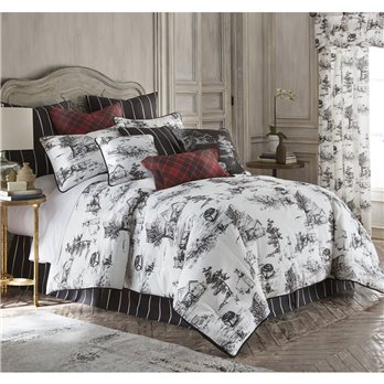 Toile Back In Black Comforter Set (LINEN) Twin
