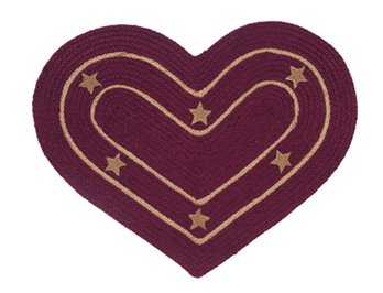 Burlap Star Wine Heart Rug: 20 X 30