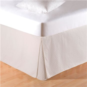 Cream Quilted King Bedskirt