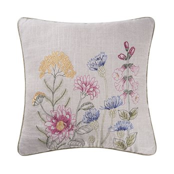 Jeanette Embroidered Pillow with blue bachelor buttons