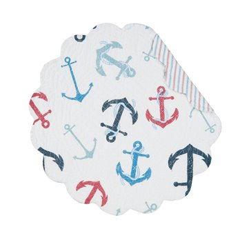 Anchors Away Round Quilted Placemat