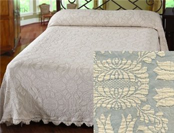 Colonial Rose Full French Blue Bedspread