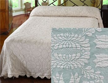 Colonial Rose Full Sage/Natural Bedspread