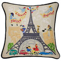 Eiffel Tower Embroidered Pillow