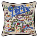 Great Lakes Embroidered Pillow