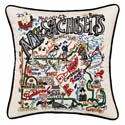 Massachusetts Embroidered Pillow