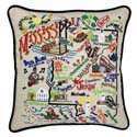 Mississippi Embroidered Pillow