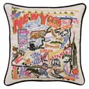New York Embroidered Pillow