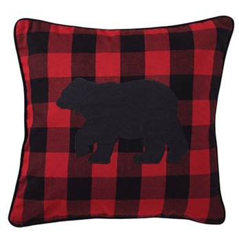 "Buffalo Check 18"" Bear Pillow with insert"
