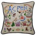 Ski Aspen Embroidered Pillow