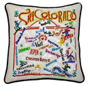 Ski Colorado Embroidered Pillow