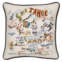 Ski Tahoe Embroidered Pillow