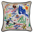 Ski Utah Embroidered Pillow