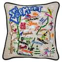 Ski Vermont Embroidered Pillow