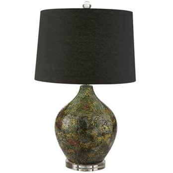 Black Mosiac Lamp with Crystal Base and Finial by Split-P