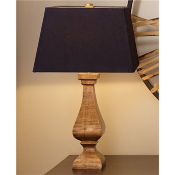 Antique Gold Wood Lamp with Shade by Split-P