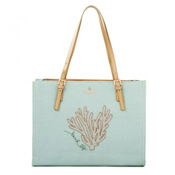 Beaded Coral Tote by Spartina 449 at P. C. Fallon Co.