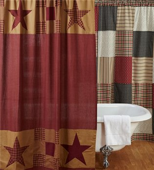 Ninepatch Star Patchwork Border Shower Curtain