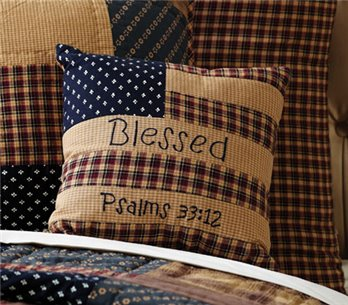 Patriotic Patch Blessed Pillow 10 x 10