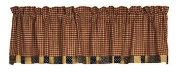 Patriotic Patch Unlined Block Border Valance 16 x 72