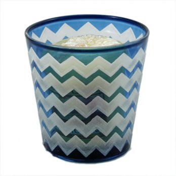 Yankee Candle Sand Blasted Blue Chevron Glass Votive Holder