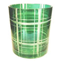 Yankee Candle Green Plaid Cut Glass Votive Holder