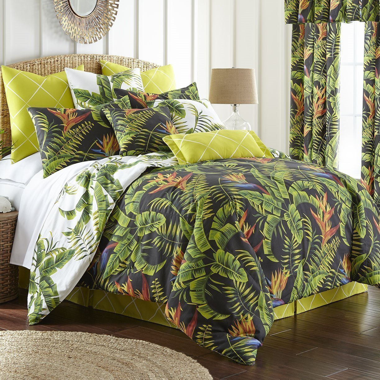 Flower Of Paradise Comforter Set Reversible Super King 114 X98 2 Pillow Shams