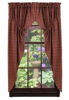 Cambridge Wine Prairie Curtains 72 x 36 by IHF Home Dcor