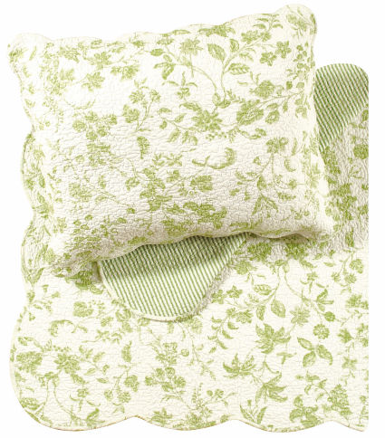 Williamsburg Brighton Green Toile Quilts and Bedding from C&F