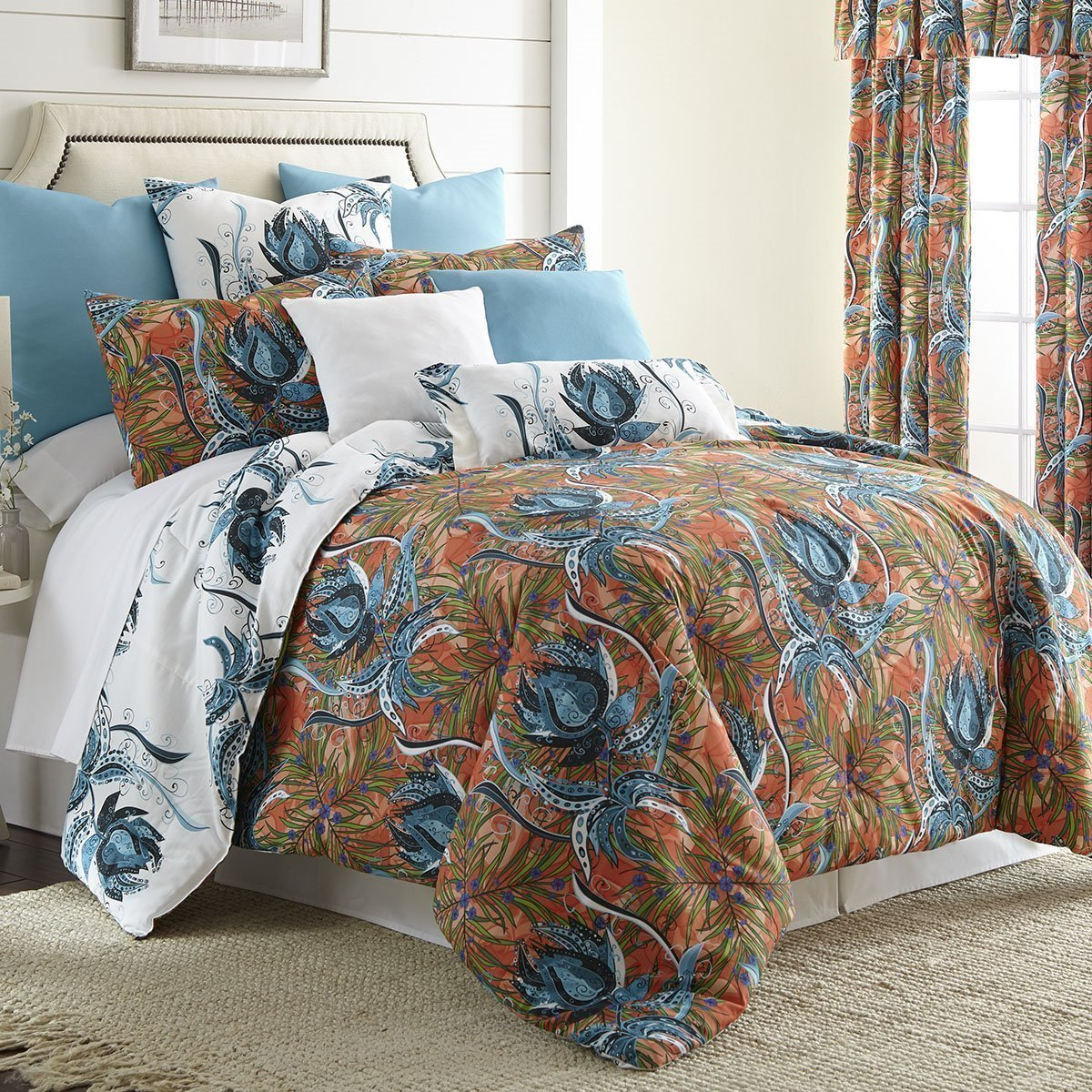 Tropical Bloom Comforter Set Reversible Super King 114 X98 2 Pillow Shams