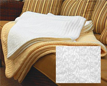 Cable Weave Blanket Twin White