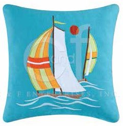 Zuma Bay Sailboats Embroidered Pillow