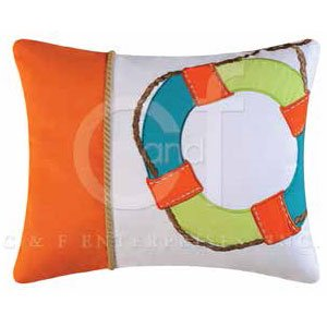Zuma Bay Life Preserver Embroidered Pillow