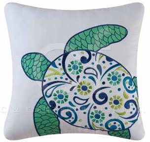 Imperial Coast Embroidered Turtle Pillow