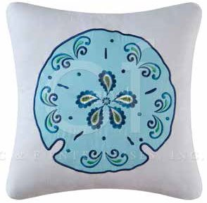 Imperial Coast Embroidered Sand Dollar Pillow