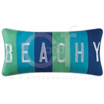 Imperial Coast Embroidered Beachy Pillow