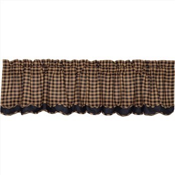 Navy Check Scalloped Valance Layered