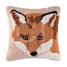Hillside Haven Hooked Fox Face Pillow
