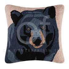 Hillside Haven Hooked Bear Face Pillow