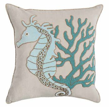 Saltwater Serenity Seahorse Beaded Pillow